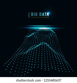 Abstract 3D big data visualization. Tangled graphics data streams. Infographics threads data. Futuristic Social network. Technological vector background. Representation of a business intelligence