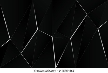 Abstract 3d black low polygon style background a combination with line silver crystal texture. Luxury premium vector design for use modern element cover, banner, wallpaper, poster, flyer, corporate