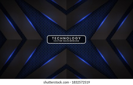 Abstract 3D black techno background overlap layers on dark space with blue light effect decoration. Modern graphic design template elements for poster, flyer, brochure, landing page, or banner