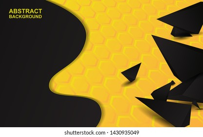 Abstract 3d black triangle shapes composition texture on yellow orange background. Modern vector template for use wallpaper, cover, banner, card, advertising