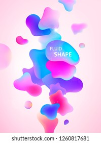 Abstract 3d blue, pink and purple gradient drop liquid shapes. Fluid neon trendy vertical background