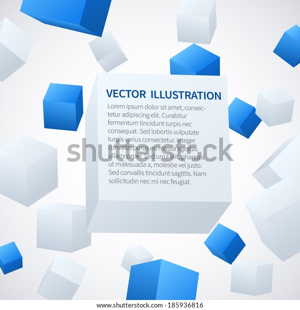 Abstract 3d blue and white cubes background. Vector illustration