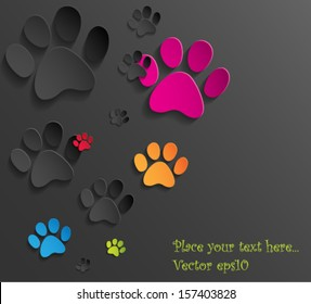 Abstract 3d cat paws background. Vector eps10.