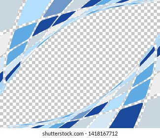 Abstract 3d checked  business background with transparency grid on back. Vector Illustration.
