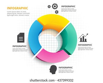 Abstract 3d circle four color chart infographic template. Vector eps10.