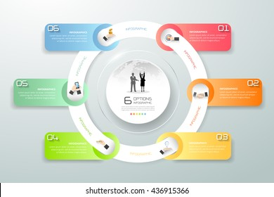 Abstract 3d circle infographic 6 options,  Business concept infographic template can be used for workflow layout, diagram, number options, timeline or milestone project.