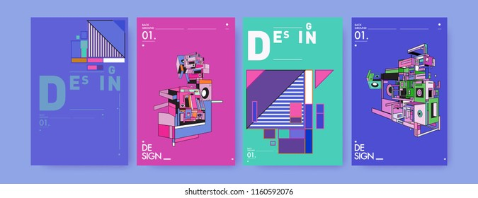 Abstract 3d colorful collage poster and cover design template. Cool geometric and retro background cover design.
