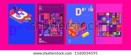 abstract 3 d colorful collage poster cover stock vector royalty