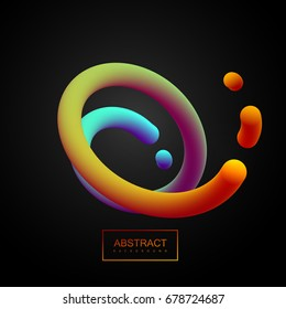 Abstract 3d colorful curved line. Vector artistic illustration. Vibrant gradient swirled stream. Liquid fluid color path. Creativity concept. Visual communication poster design