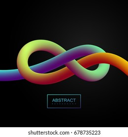 Abstract 3d colorful stripe. Vector artistic illustration. Vibrant gradient shape. Liquid color path. Creativity concept. Visual communication poster design. Figure eight tied knot