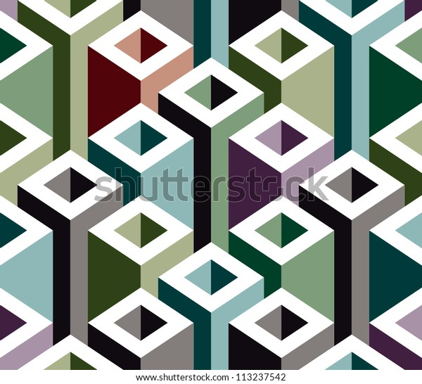 Abstract 3d construction elements seamless pattern, vector background.