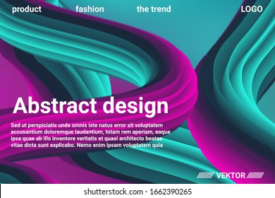 Abstract 3d cover with bright gradient. Abstract liquid fluid color shape. Vibrant Gradient.  Modern graphic texture. Vector 3d illustration.