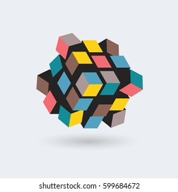 Abstract 3d cube, team building concept, vector illustration