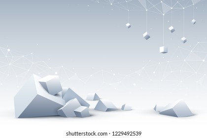 Abstract 3d cubes and background. Background with collapse geometric cubes. Science and Blockchain technology. Big data and Internet connection. Vector illustration.