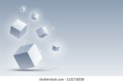 Abstract 3d cubes background. Background with connection geometric cubes. Science and technology. Big data and Internet connection. Vector illustration.