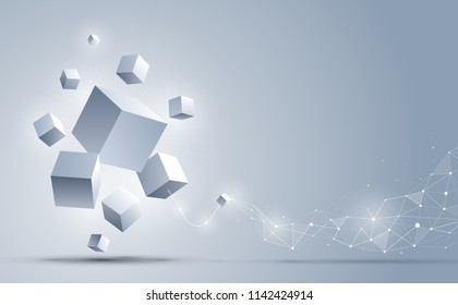 Abstract 3d cubes background. Abstract background connection with geometric cubes. Science and technology. Big data and Internet connection. Vector illustration.