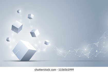 Abstract 3d cubes and background. A connection of big and small geometric cubes . Science and technology. Big data and Internet connection. Vector illustration.