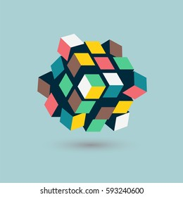 Abstract 3d cubes form, team building concept, vector illustration