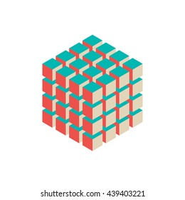 Abstract 3d cubes. Isometric style. Isolated on white background. Vector colorful illustration.