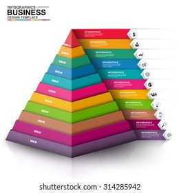 Abstract 3D digital business Infographic. Can be used for workflow process, business pyramid, banner, diagram, 11 number options, work plan, web design.