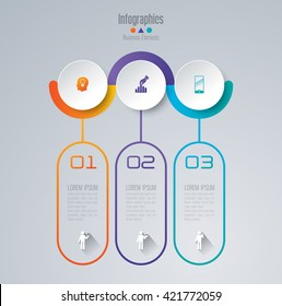 Abstract 3D digital illustration Infographic and marketing icons vector can be used for workflow layout, diagram, annual report, web design. Business concept with 3 options, steps or processes.