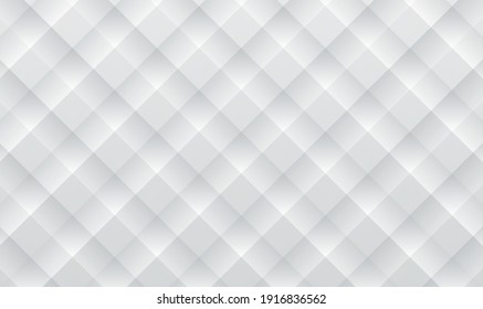 Abstract 3d geometric background. Tileable 3D modern recurring design techno textural fond of gray celluar plastic grid. Trendy extruded bulging tracery paper. White and grey geometric texture. Vector
