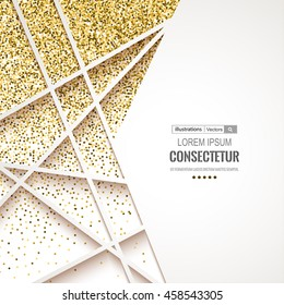 Abstract 3D geometric gold background.Gold banner. Gold glitter card design.Vector illustration for business presentation.