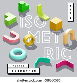Abstract 3D geometric isometric vector shape – torus, cube, tube, arch, corner.