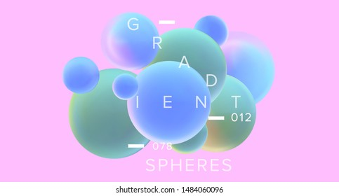 Abstract 3D Geometric Minimal Background with Floating Holographic Gradient Spheres. Futuristic Vaporwave Style Landing Page, Cover or Poster Template with Subatomic Particles, Molecules.