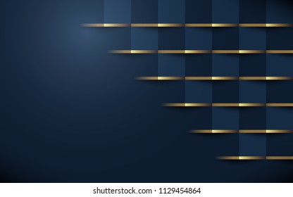 Abstract 3d geometric pattern luxury dark blue with gold