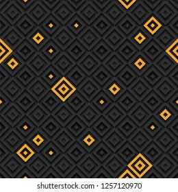 Abstract 3d geometric seamless pattern consisting of black and yellow elements. Eps10 vector