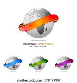 abstract 3D global logo with modern ring sphere infinity synergy vector logo design