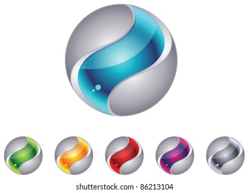Abstract 3d globe sphere set