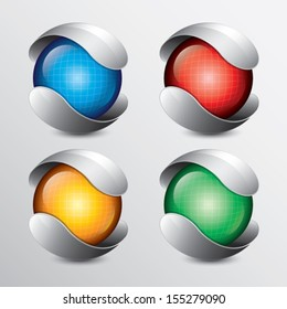 Abstract 3d glossy globe sphere Design set