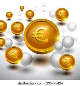 Abstract 3D glossy icon sets in Euro Currency Concept.EPS 10. can be use as icons, element, banner or background.