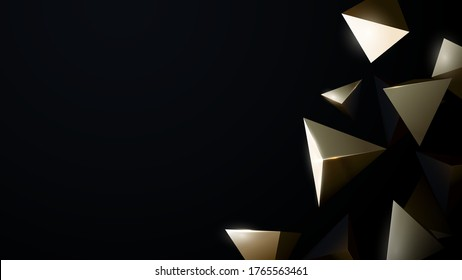 Abstract 3d Gold Chaotic Low Poly Shapes. Luxury Gold Flying Polygonal Pyramids Background. Vector Illustration