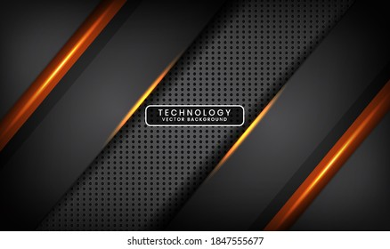 Abstract 3D grey techno background overlap layers on dark space with orange light effect decoration. Modern graphic design template elements for poster, flyer, card, cover, brochure, or landing page