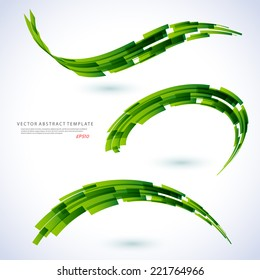 Abstract 3d icon set with green ribbon elements. Design elements with spiral motion.