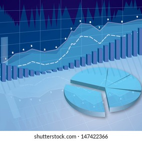 abstract 3d illustration of business diagrams blue background