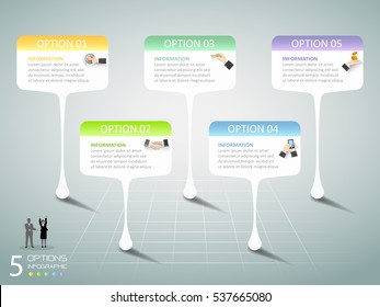 Abstract 3d infographic 5 options,  Business concept infographic template can be used for workflow layout, diagram, number options,
