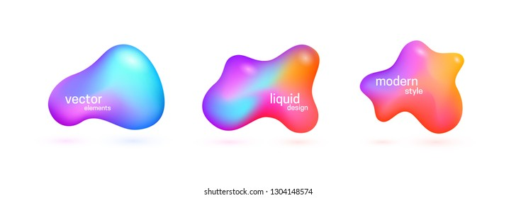 Abstract 3d liquid elements set. Fluid gradient shapes. Vector illustration.