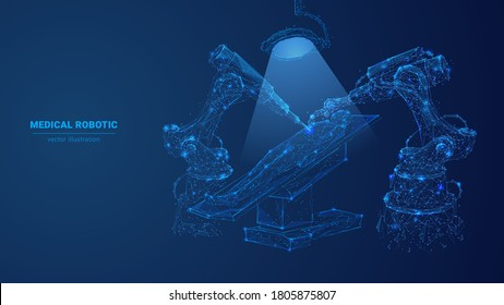 Abstract 3d medical robotic performing surgical operation on patient. Low poly robotic arm and human in dark blue. Innovative medicine, modern medical technology concept. Digital vector illustration