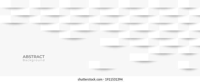 Abstract 3d modern square banner background. White and grey geometric pattern texture. vector art illustration
