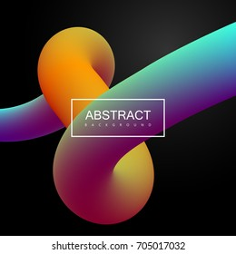 Abstract 3d multicolored shape. Vector artistic illustration. Vibrant gradient curved stream. Liquid blended fluid color path. Creativity concept. Visual communication poster design