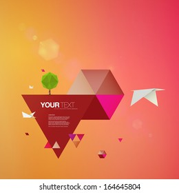 Abstract 3D origami world with bird and tree  Eps 10 vector illustration