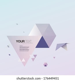 Abstract 3d origami world with bird and triangles design  Eps 10 vector illustration