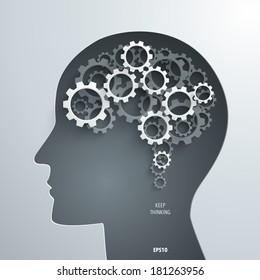 Abstract 3D Paper Cogwheels Brain