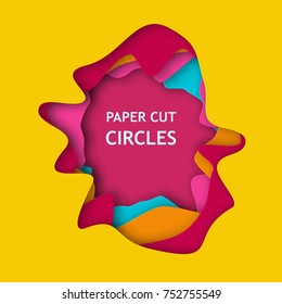Abstract 3d paper cut background vector illustration for album music or other cover. Colored design element of lines with same random and noise.