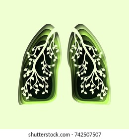abstract 3d paper cut illustration of green human healthy lungs with branch and leaves.