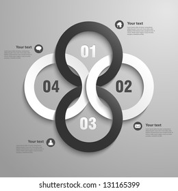 Abstract 3D Paper Infographics circles- vector